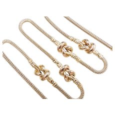"""Long Knot Necklace 14k Yellow Gold 24"""" Length, 20.7 Grams"""