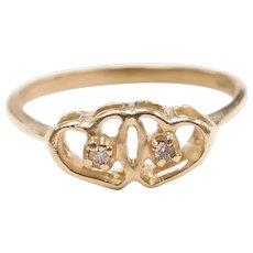 Vintage Diamond .02 ctw Double Heart Ring 14k Yellow Gold