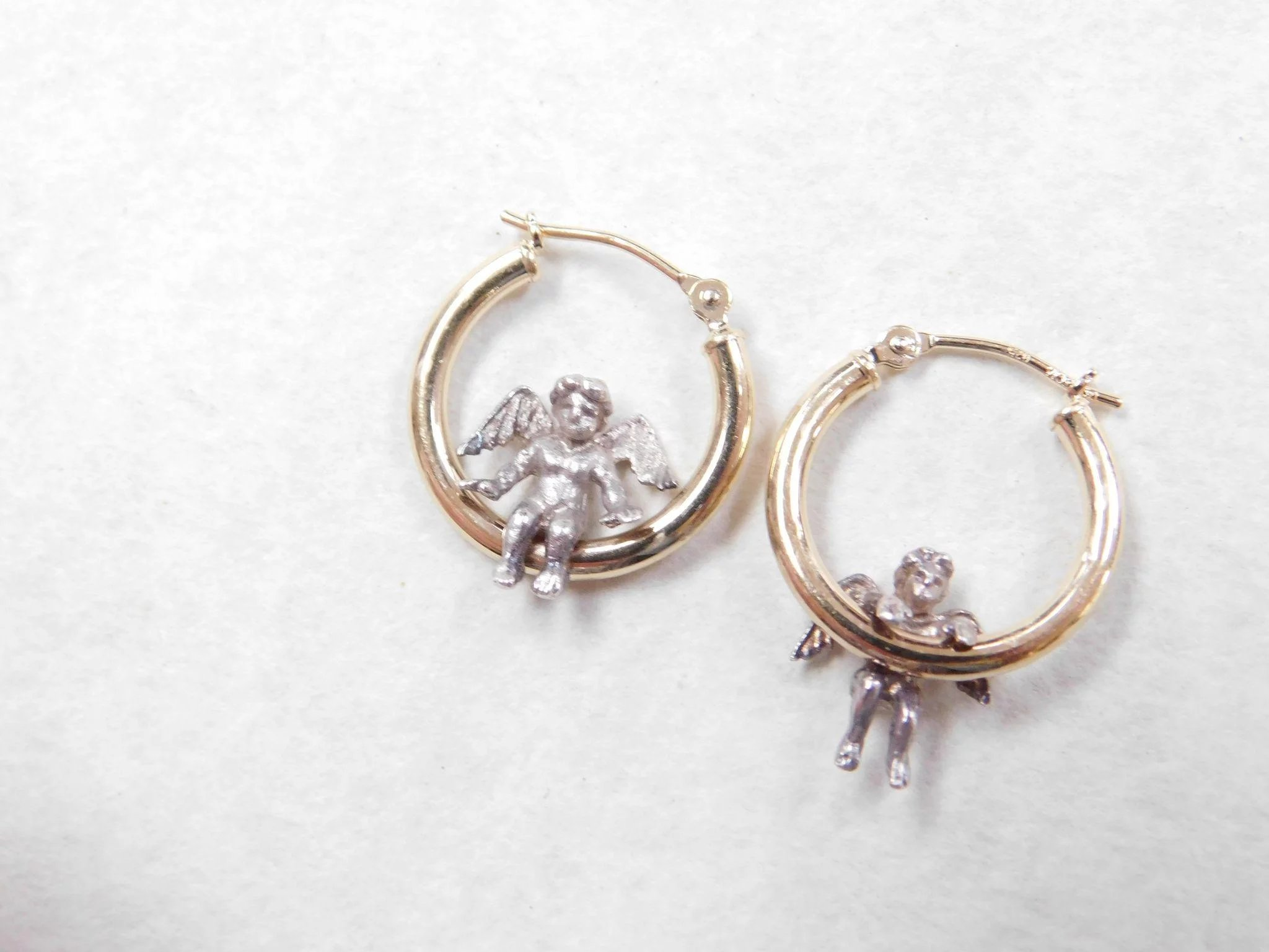 Vintage Sterling Silver And 14k Gold Angel Hoop Earrings
