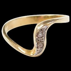 Vintage 14k Gold Two-Tone Diamond Ring