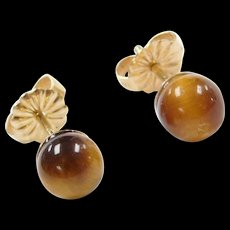 Vintage 14k Gold Tigers Eye Ball Stud Earrings