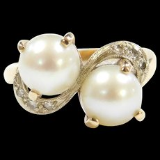 Retro 14k Gold Cultured Pearl and Diamond Ring ~ Two-Tone