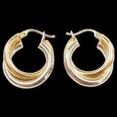 Vintage 18k Gold Two-Tone Hoop Earrings