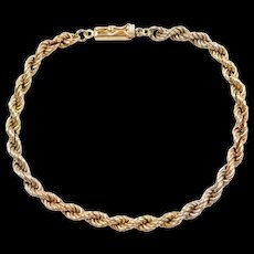 Vintage 18k Gold Tri-Color Rope Bracelet ~ 7 1/2""