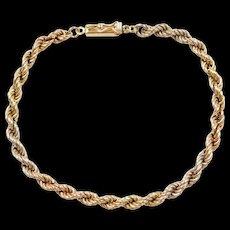 """Vintage 18k Gold Tri-Color Rope Bracelet ~ 7 1/2"""""""