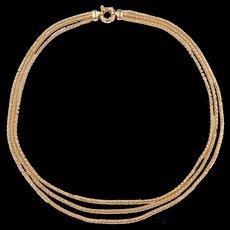 "Vintage 18k Gold Triple Strand Popcorn Necklace ~ 17 3/4"" ~ 24.1 Grams"