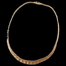 Vintage 14k Gold Tri-Color Necklace ~ 16 1/2""