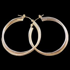 Vintage 14k Gold Two-Tone Hoop Earrings