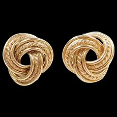 Vintage 14k Gold Trinity / Love Knot Stud Earrings