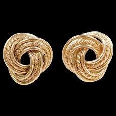 Vintage 14k Gold Trinity / Love Knot Stud Earrings