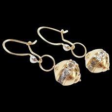 Vintage 14k Gold Faux Diamond Earrings ~ Two-Tone
