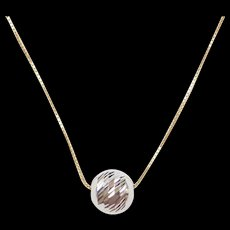 """Vintage 14k Gold Two-Tone Bead Necklace ~ 18"""""""