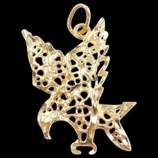 Vintage 14k Gold Filigree Eagle Pendant