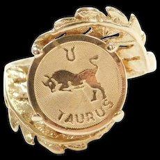 Vintage 14k Gold Taurus Zodiac Ring