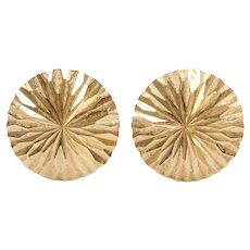 14k Gold Diamond Cut Disk Stud Earrings