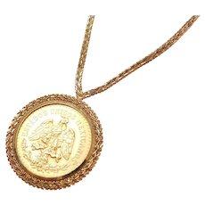 "BIG Vintage 14k & 22k Gold 1821-1947 50 Pesos Coin Necklace ~ 20 1/4"""