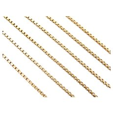 "24"" Long 18k Gold Box Chain ~ 15.8 Grams"