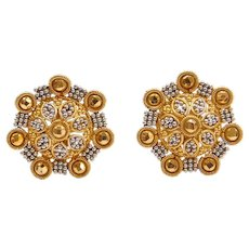 21k Gold Two-Tone Bead Flower Burst Stud Earrings