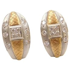 22k Gold Two-Tone Faux Diamond Stud Earrings