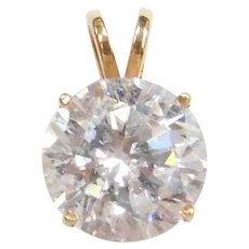 14k Gold 3.15 Carat Faux Diamond Solitaire Pendant