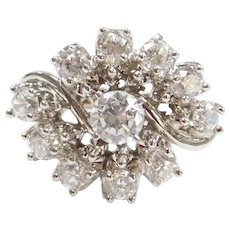 18k White Gold Faux Diamond Cluster Ring