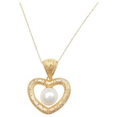 """14k Gold Cultured Pearl Heart Necklace ~ 18"""""""