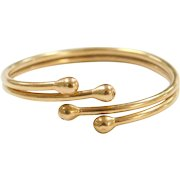 Vintage 18k Gold Bypass Bead Ring