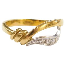 Vintage 18k Gold Two-Tone Diamond Ring
