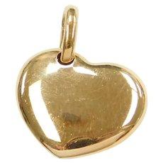 18k Gold Puff Heart Charm / Pendant