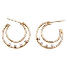 10k Gold Diamond Hoop Earrings