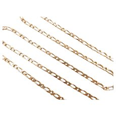 """Gents Solid 1:1 Figaro Link Chain 14k Yellow Gold 22"""" Length, 12.4 Grams ~ Men's"""