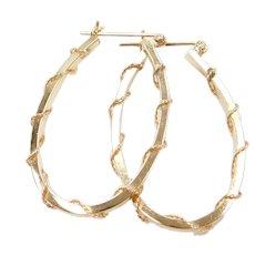 14k Gold Oval Twisted Hoop Earrings