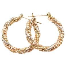 14k Gold Tri-Color Twisted Hoop Earrings
