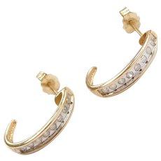 10k Gold Two-Tone .24 ctw Diamond Hoop Earrings