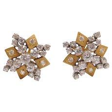 22k Gold Two-Tone Faux Diamond Stud Earrings