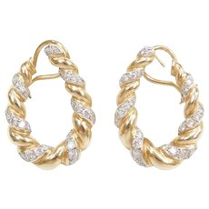 14k Gold Two-Tone Front Facing Diamond Hoop Earrings