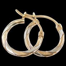 Vintage 10k Gold Two-Tone Hoop Earrings