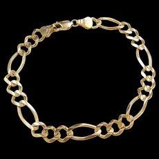 """Vintage 10k Gold Men's Figaro Link Bracelet ~ 9 1/4"""""""