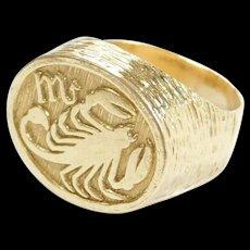 Vintage 18k Gold Scorpio Zodiac Ring ~ October 23rd - November 21st