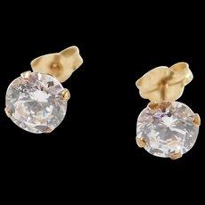 Vintage 10k Gold Faux Diamond Stud Earrings