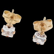 Vintage 10k Gold Faux Diamond Stud Earrings