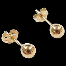 Vintage 10k Gold 4mm Ball Stud Earrings