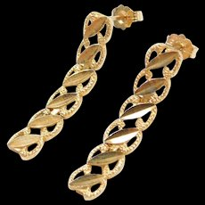 Vintage 10k Gold Long Earrings