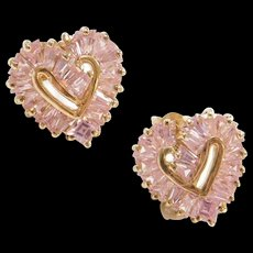 Vintage 10k Gold Pink Ice Heart Stud Earrings