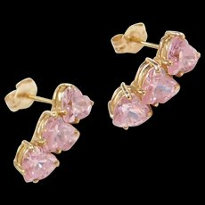 Vintage 10k Gold Pink Ice Heart Earrings