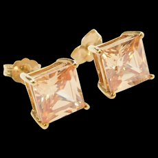 Vintage 10k Gold Golden Cubic Zirconia Stud Earrings