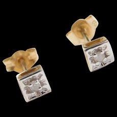 Vintage 10k Gold Two-Tone Diamond Stud Earrings