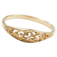 Vintage 10k Gold Filigree Swirl Ring
