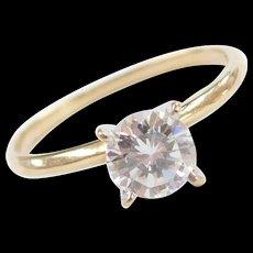 Vintage 10k Gold Faux Diamond Solitaire Engagement Ring