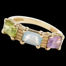 Vintage 10k Gold Amethyst, Peridot and Blue Topaz Ring